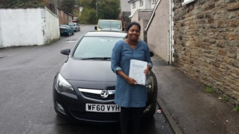 23.10.2014 - A massive well done to Anjuk who passed her Automatic Driving Test today with just 16 hrs of lessons in Merthyr Tydfil... she passed with just 1 minor... BRILLIANT!!!...