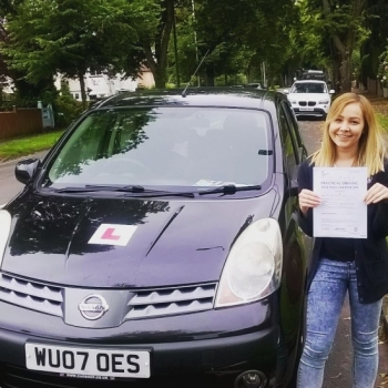 15.7.16 - A massive well done to Sian on passing your automatic driving test today in Newport. First time with just 3 teeny tiny minors....what a week for you! Good luck with your new job too....