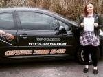 Lauren Cooper passed with XLR8 Wales Driving School